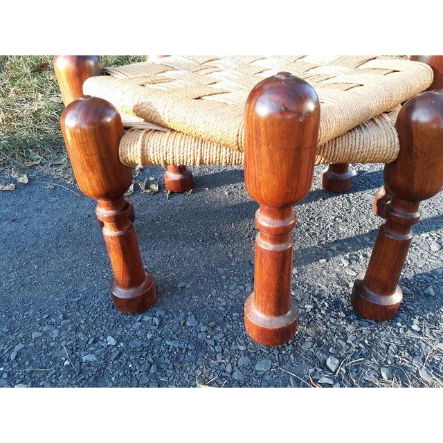Brown 1960s Danish Modern Rosewood and Rope Ottomans - a Pair For Sale - Image 8 of 9