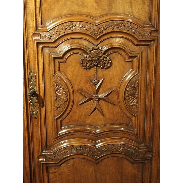 """French Early 1700's French Walnut Wood Chateau Armoire, """"The Order of Saint Louis"""" For Sale - Image 3 of 11"""