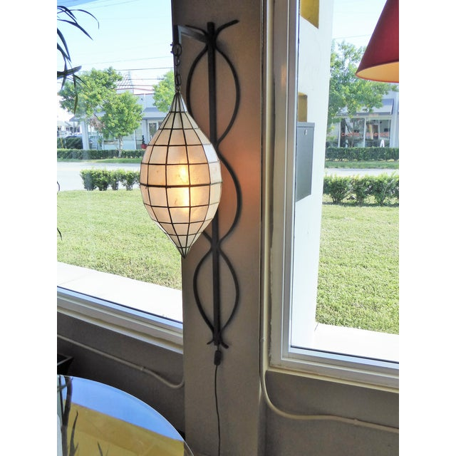 Mid Century Moderm Capiz Shell and Wrough Iron Sconce Wall Light, N1960s For Sale - Image 11 of 13