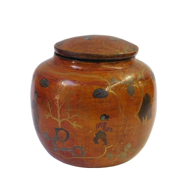 Chinese Brown Lacquer Painted Container - Image 3 of 8