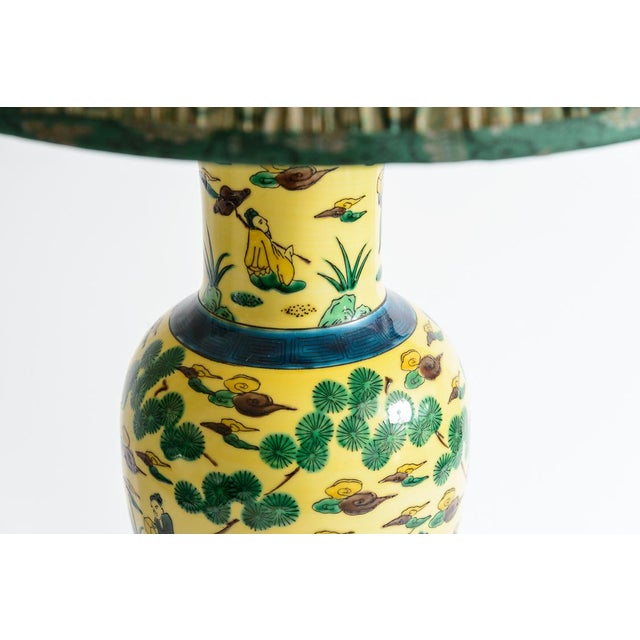 Japanese Kutani Porcelain Vase Table Lamp With Custom Shade, C. 1940 For Sale In West Palm - Image 6 of 13