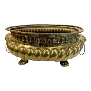 Dutch Brass Wine Cooler or Planter For Sale