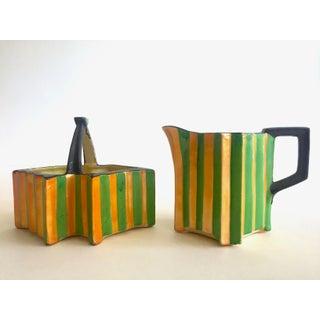 Rare Vintage 1930's Art Deco Japan Art Pottery Hand Painted Modernist Ceramic Cream & Sugar Serving Set Preview
