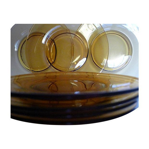 Translucent Amber Dessert Plates- Set of 7 For Sale - Image 4 of 6