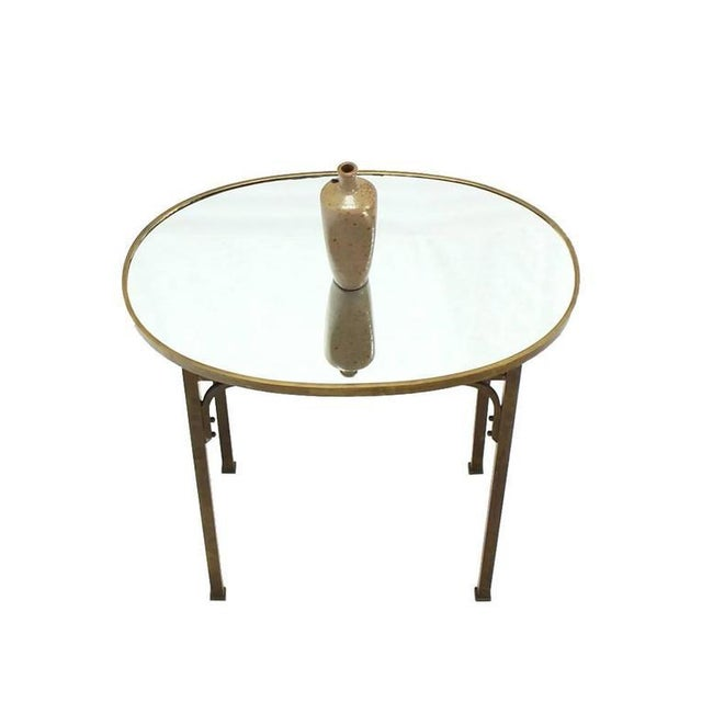 Mid-Century Modern Solid Brass Mirror Top Oval Hall or Side Table For Sale - Image 3 of 7