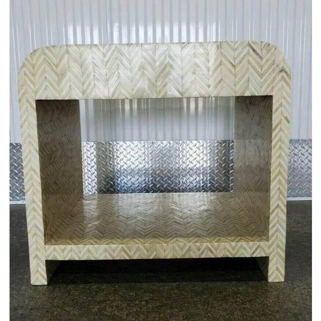 Beige 1970s Tessellated Bone Nightstand With Drawer For Sale - Image 8 of 13