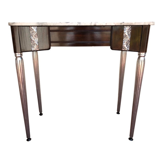 Art Deco Silver Leaf and Dark Wood Vanity Table For Sale