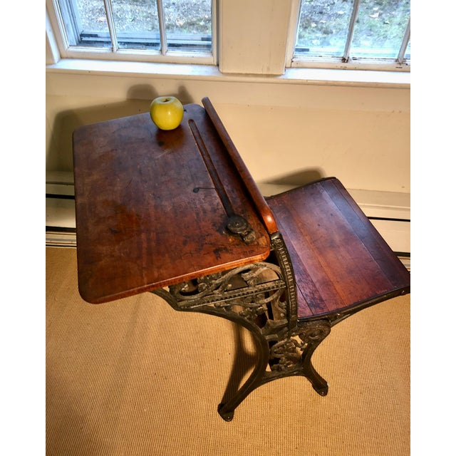 Late 19th Century 1880 Victorian Schoolhouse Desk W/Cast Iron Base Inkwell & Bookshelf For Sale - Image 5 of 11