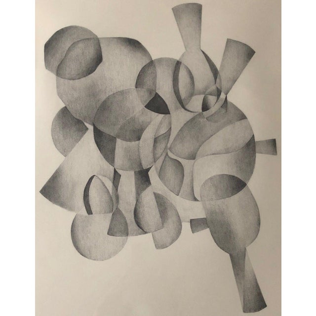 Charcoal 1970s Abstract Drawing on Paper of Overlapping Shapes by Carol Caciolo For Sale - Image 7 of 7
