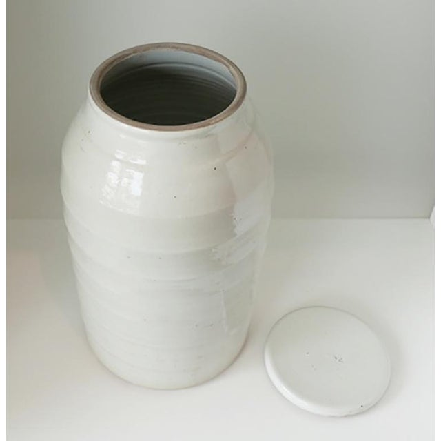 1980s 1980s Organic White Jar With Lid For Sale - Image 5 of 6