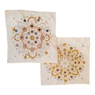 Hand Decorated Indian Mirror Pillow Pair For Sale