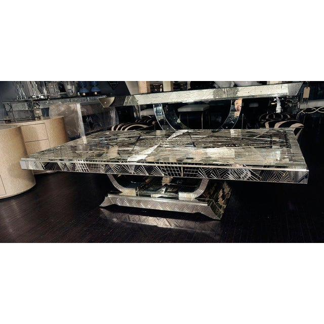 French Art Deco Style Mirrored Table For Sale - Image 9 of 10