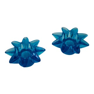 Late 20th Century Vintage Aqua Starburst Candle Holders - a Pair For Sale