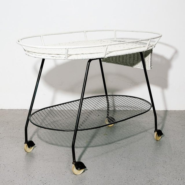 Wicker Vintage Wicker and Steel Bar Cart by Salterini For Sale - Image 7 of 7