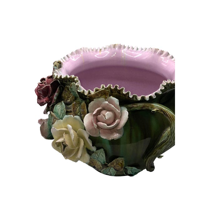 French Antique French Barbotine Magnolia Planter For Sale - Image 3 of 9