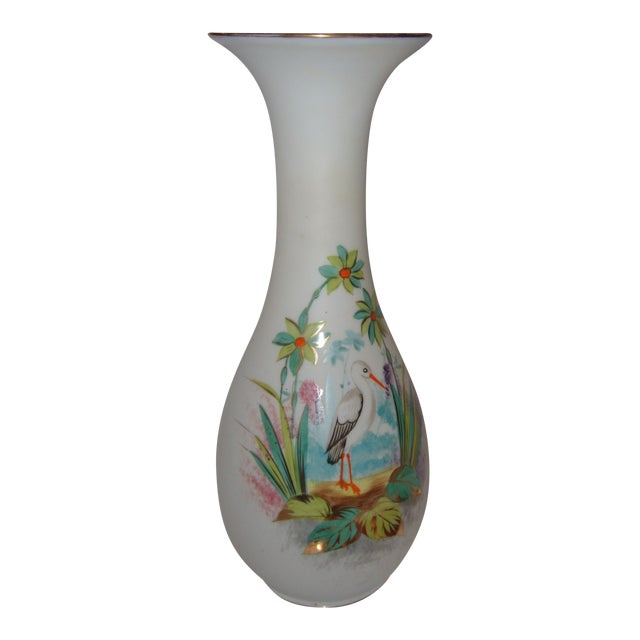 Bristol Glass Vase with Bird & Flowers - Image 1 of 5