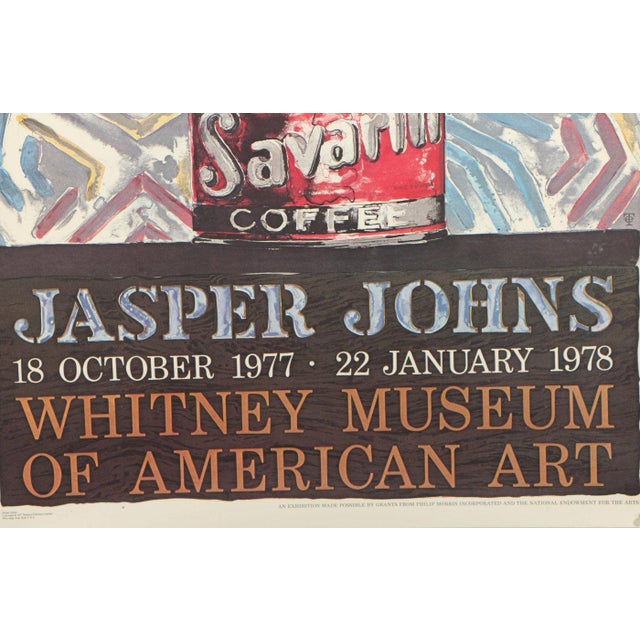 Jasper Johns Savarin Whitney Museum Vintage Exhibition Poster Lithograph For Sale - Image 4 of 6