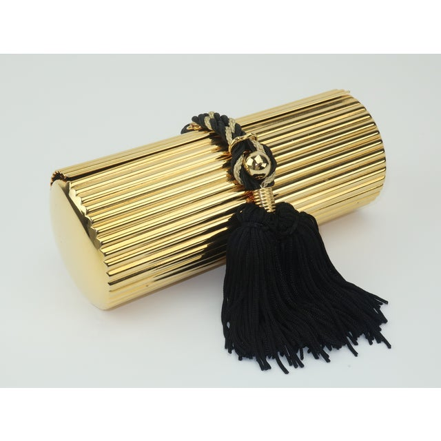 Walborg Gold Metal Cylinder Handbag With Black Tassel Closure For Sale - Image 13 of 13