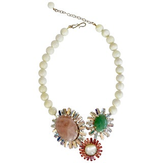 Philippe Ferrandis Triple Stone and Mother of Pearl Necklace For Sale