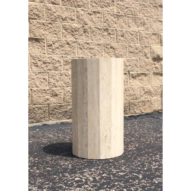 Italian Round Travertine Stone Dining or Center Table For Sale - Image 4 of 8