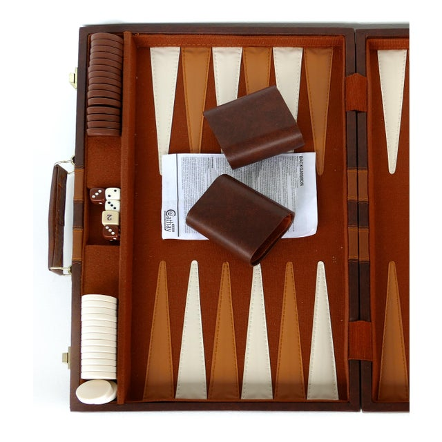 Offered for sale is a large vintage leatherette backgammon set in a travel case. The set and case is in great condition...