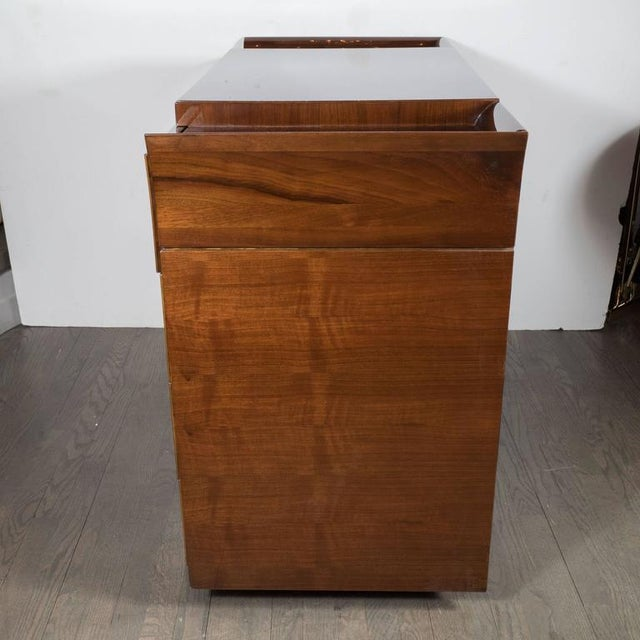 Art Deco Skyscraper Style Chest in Bookmatched Burled Elm, Mahogany and Walnut For Sale - Image 4 of 11