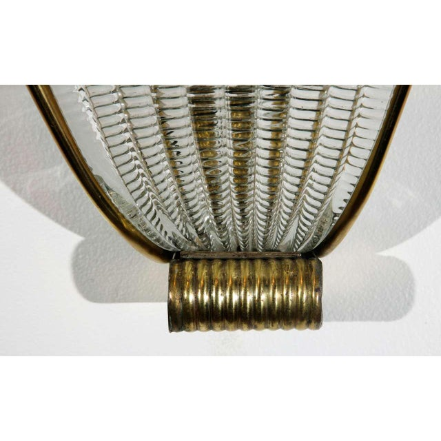 1960s 1950s Brass and Rippled Murano Glass Wall Sconces - a Pair For Sale - Image 5 of 10
