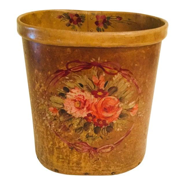 Antique French Floral Waste Basket For Sale