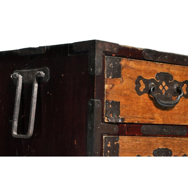 Japanese Two Piece Tansu Chest With Hand Forged Hardware For Sale In Chicago - Image 6 of 13