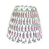 Image of Pink Floral Block Print Pleated lampshade For Sale