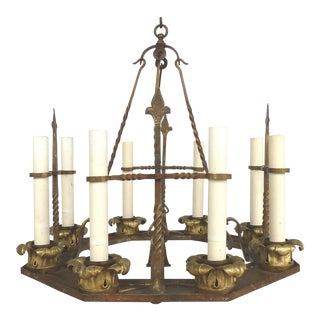 Antique 12 Light Forged Iron & Brass Chandelier For Sale
