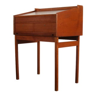 Danish Modern Drafting Desk w/ Original Skeleton Key, Denmark For Sale