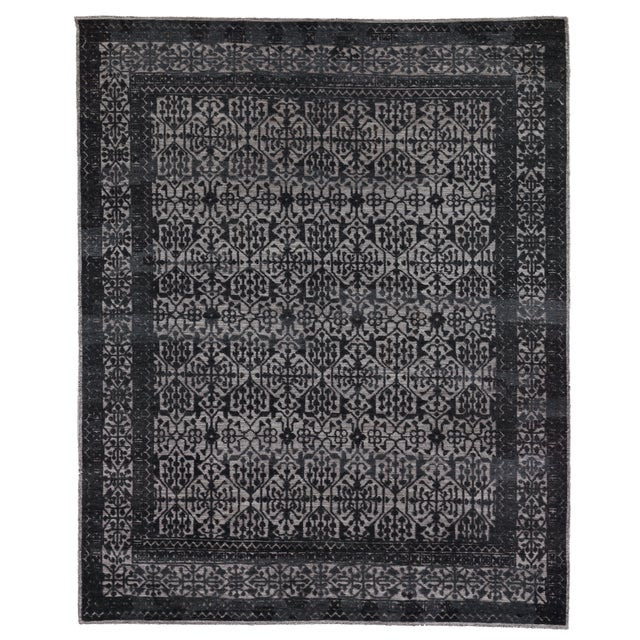 Buckingham Navy Blue Hand knotted Wool Area Rug - 6'x9' For Sale - Image 9 of 9