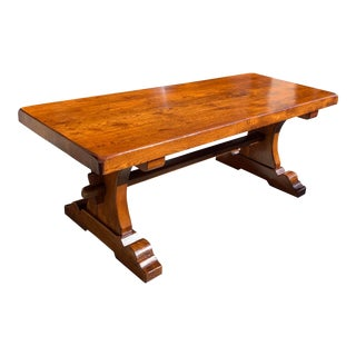 1900s French Solid Walnut Monastery Trestle or Farm Table For Sale