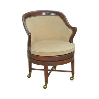 Kittinger Solid Mahogany Barrel Back Swivel Office Desk Chair