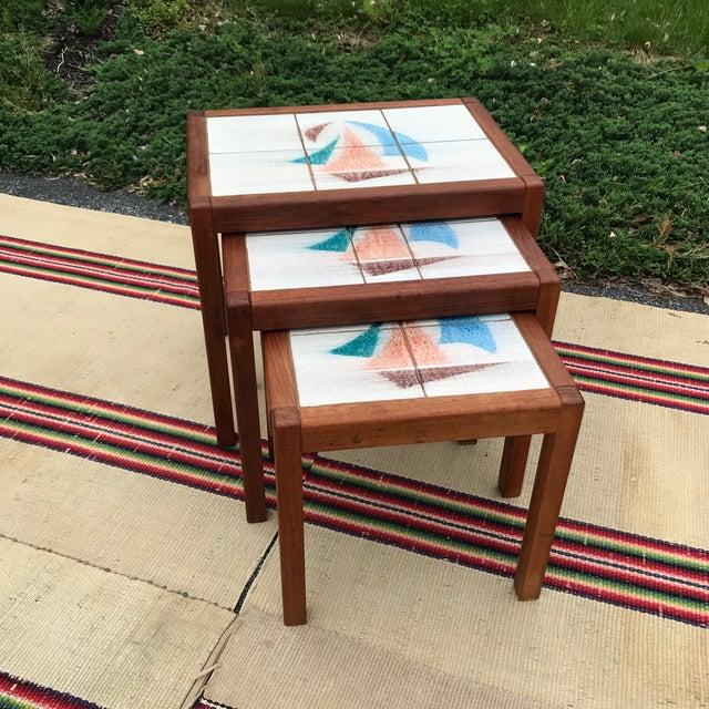 1970s Danish Modern Teak and Tile Top Nesting Tables - Set of 3 For Sale - Image 13 of 13