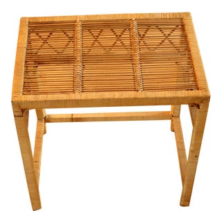 1970s Rattan Side Table For Sale