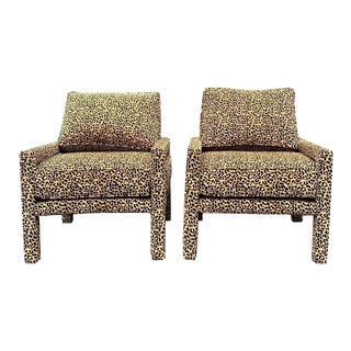 Pair of New Milo Baughman Style Parsons Chairs in Leopard Chenille For Sale
