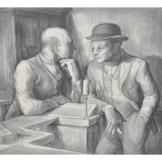 Illustration Charles Locke Pencil Signed Lithograph For Sale - Image 3 of 9