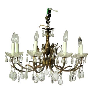 French 8 Light Mid Century Brass Chandelier For Sale