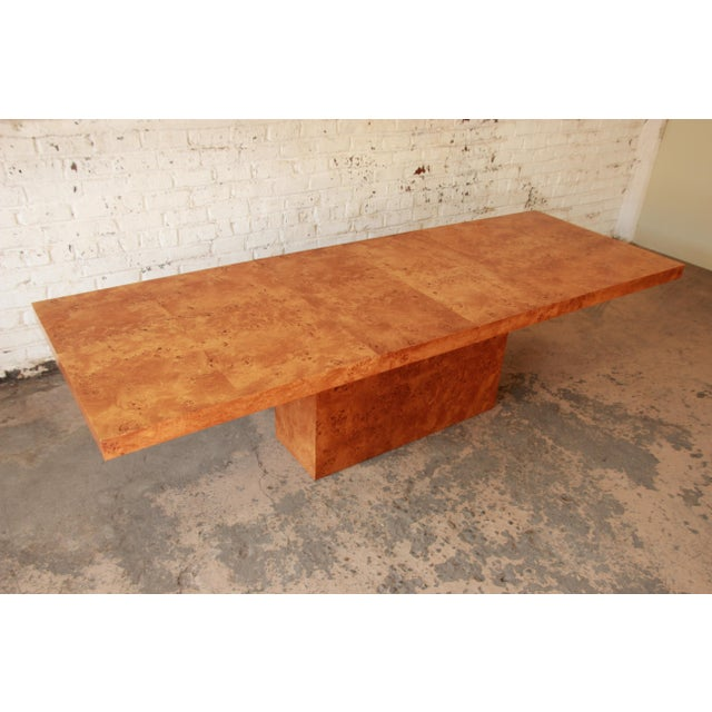 Milo Baughman Burled Olive Wood Pedestal Dining Table - Image 5 of 11