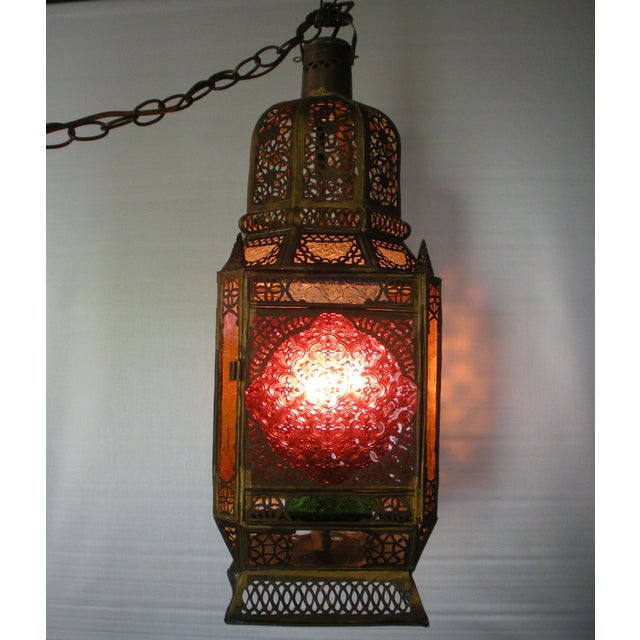Moroccan Pierced Brass Hanging Lantern For Sale - Image 12 of 12