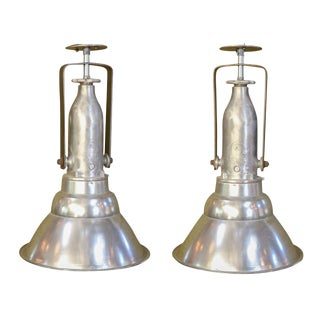 Pair of Large Aluminum Industrial Lights For Sale
