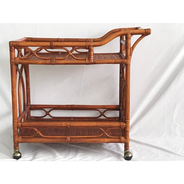 Vintage Rattan Bamboo Bar Cart For Sale - Image 4 of 10