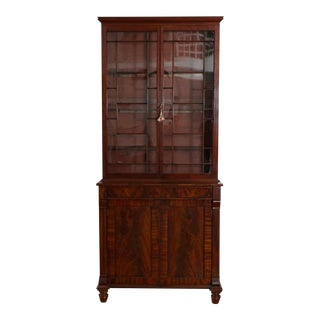 Stepback Cabinet a Deux Corps with Glass Doors For Sale