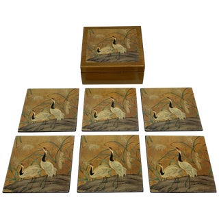 1980s Chinoiserie Lacqeured Wood Coasters With Box, Set of 6 For Sale