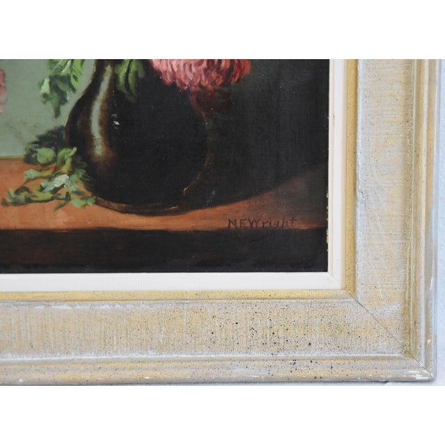 Wood M E Wright Chrysanthemum in Vase Framed Floral Oil Painting For Sale - Image 7 of 10