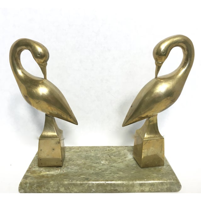 Hollywood Regency Brass Swans on Marble - Image 2 of 5