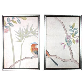 Chinoiserie Hand-Painted Wallpaper Diptych Rendered on Silver Leaf - 2 Pieces For Sale