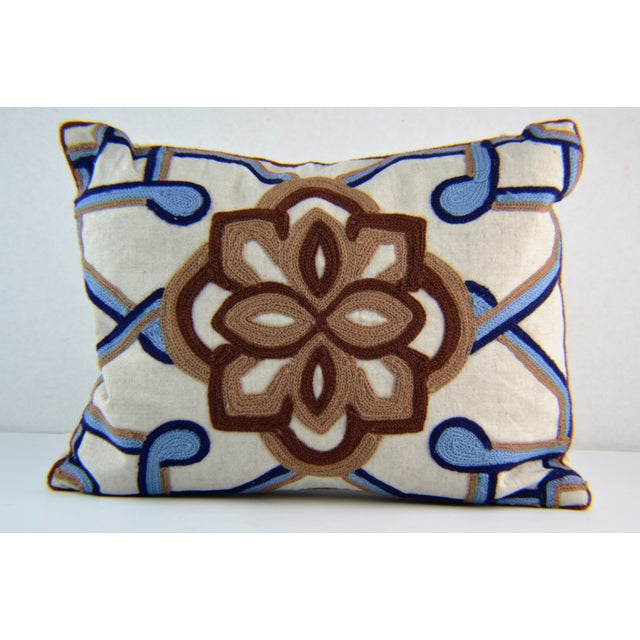 Kim Seybert Crewel Embroidered Throw Pillows - A Pair - Image 3 of 5